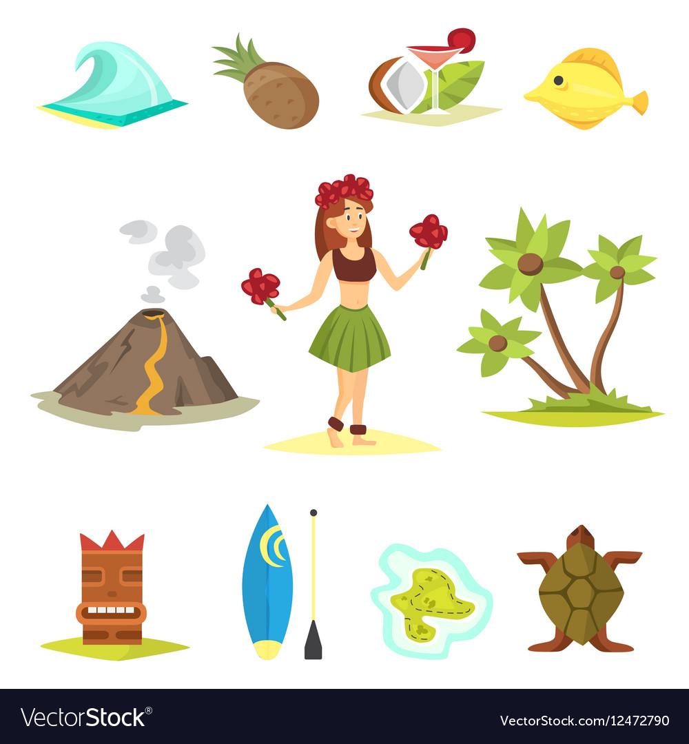 Hawaii icons and girl vector image