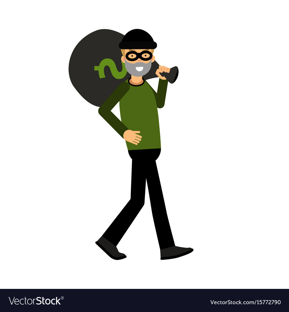 Masked thief character carrying a big money bag vector image