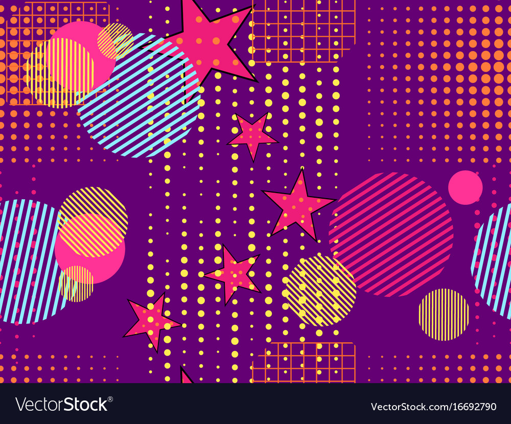 Memphis seamless pattern pop art dotted and vector image