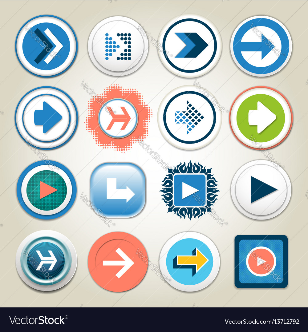 Arrow 3d Button Icon Set Royalty Free Vector Image