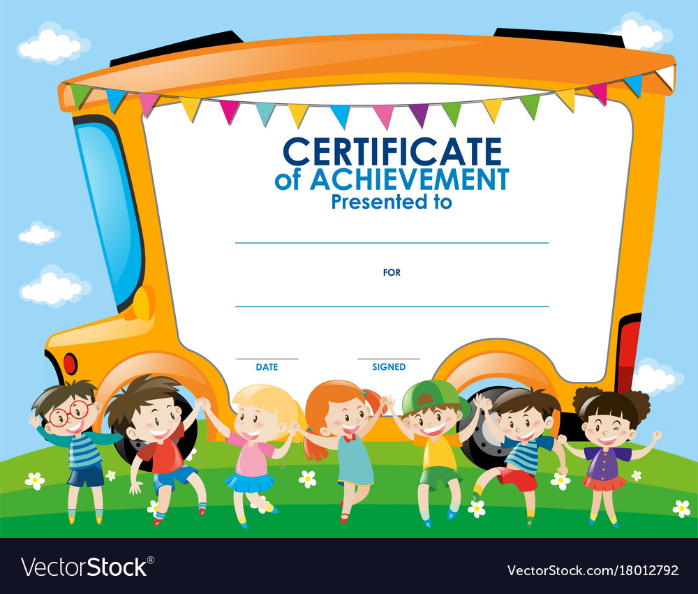 Certificate template with children and school bus vector image yadclub