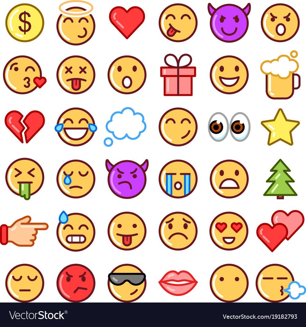 Emoji faces simple icons thin line symbols vector image emoji faces simple icons thin line symbols vector image biocorpaavc