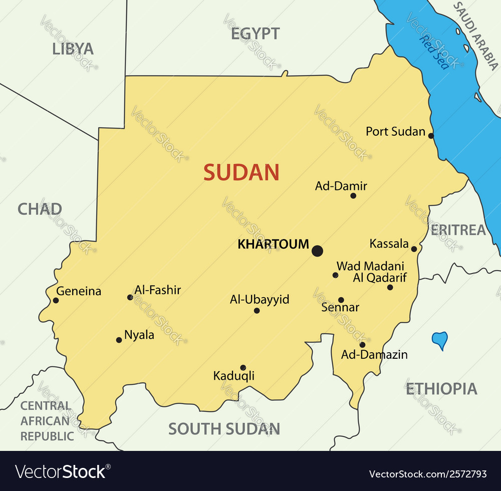 Republic Of The Sudan Map Royalty Free Vector Image - Republic of the sudan map