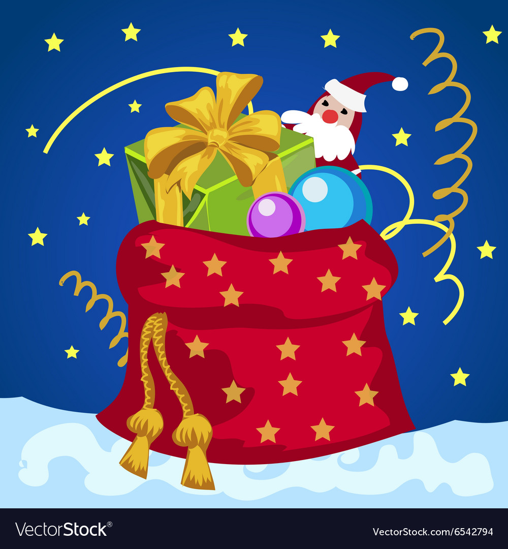 Big red bag with gifts on Christmas or New year vector image