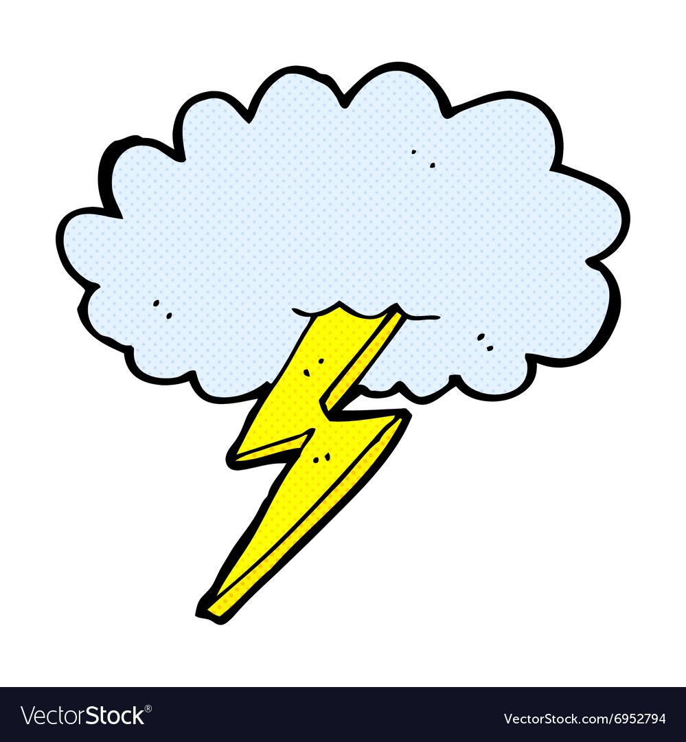 Comic cartoon lightning bolt and cloud vector image