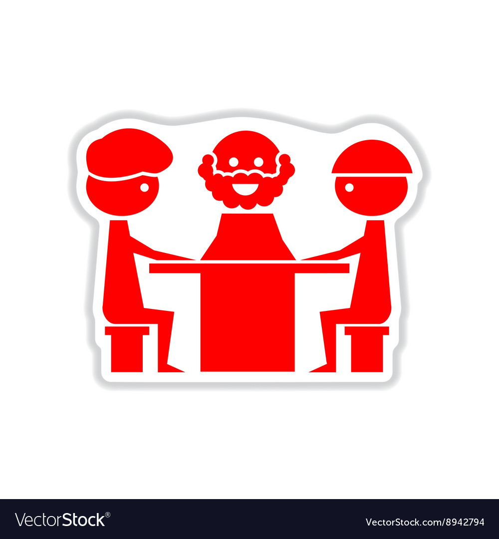 Paper sticker on white background businessmen