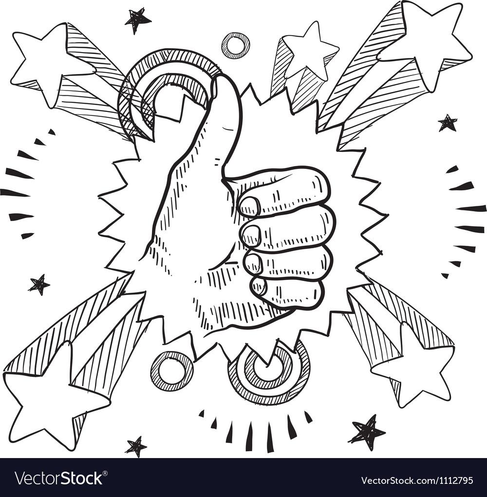 Doodle pop thumbs up vector image