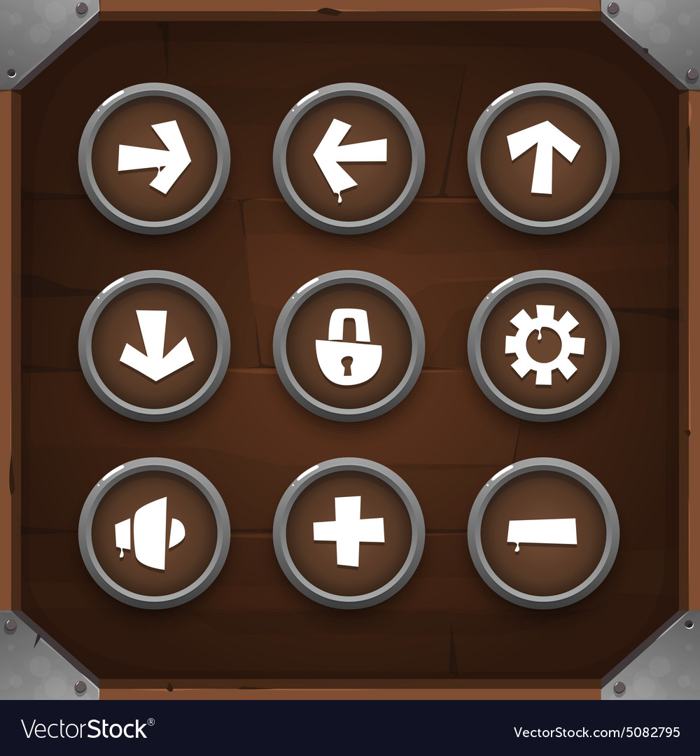 Game Icons on wooden background Set 1 vector image