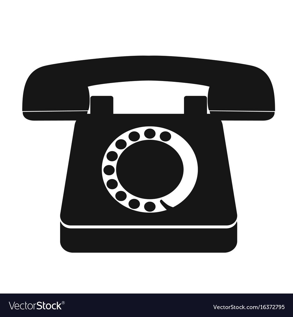 Single black old vintage telephone icon vector image