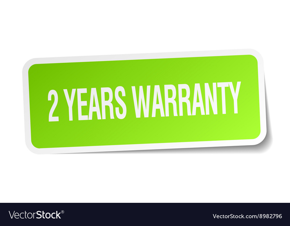 2 years warranty green square sticker on white vector image