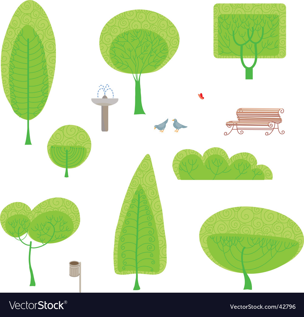 Park set vector image