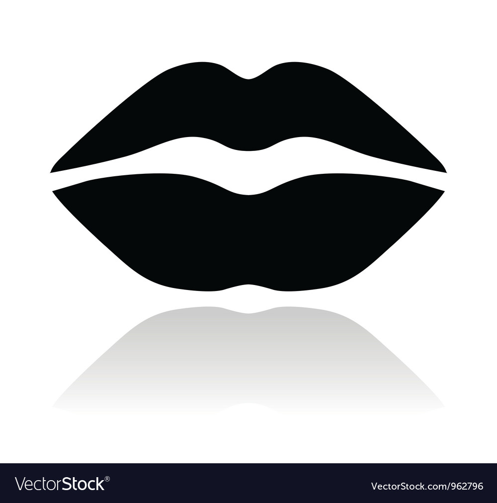 Lips black glossy icon Vector Image