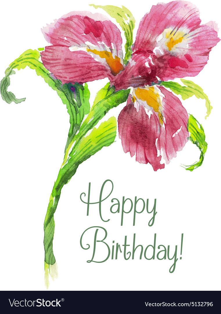 Greeting card happy birthday with red watercolor vector image kristyandbryce Images