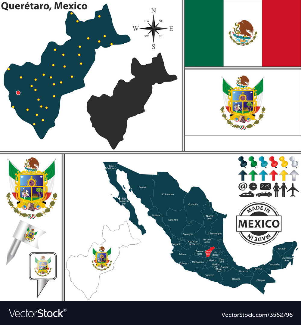 Map of Queretaro Royalty Free Vector Image VectorStock