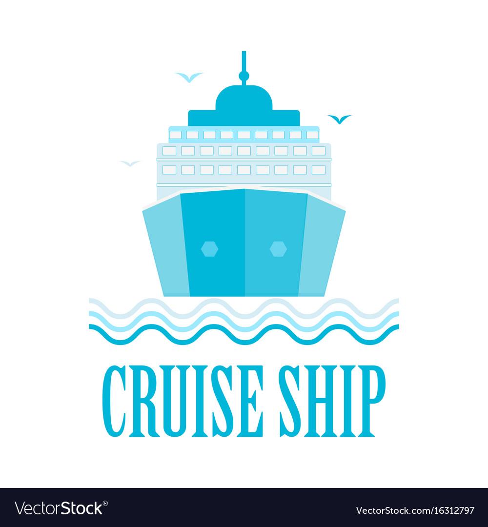 Cruise ship logo isolated on white vector image