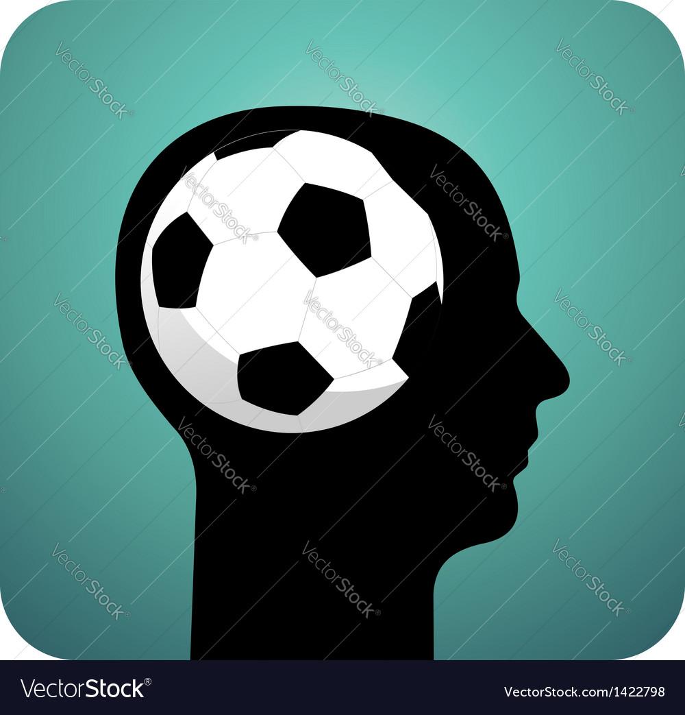 Soccer ball brains vector image