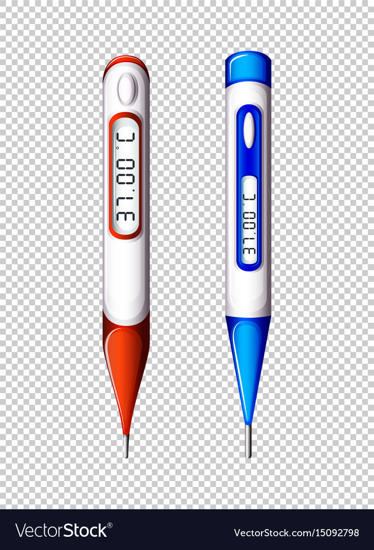 Digital thermometers on transparent background vector image