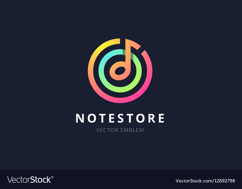 Music note store emblem vector image