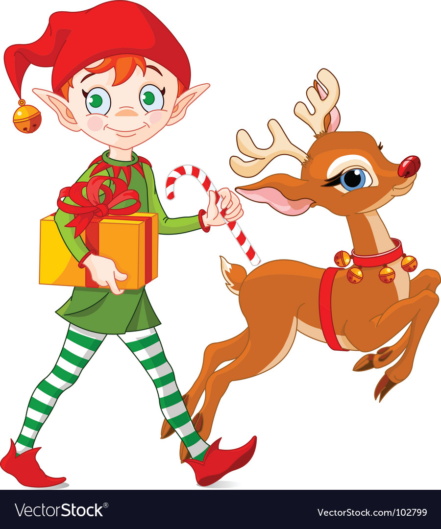 christmas elf and rudolph royalty free vector image rudolph clip art black and white rudolph clipart for nubby antlers