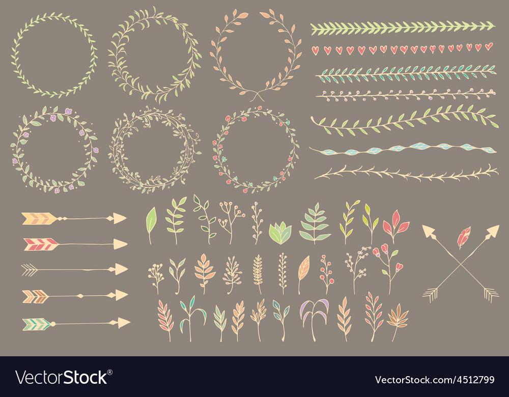Hand drawn vintage arrows dividers flowers vector image