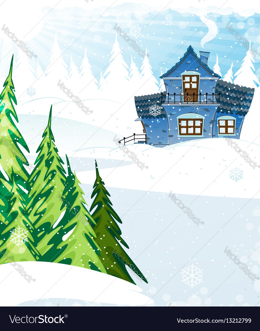 House in a pine forest vector image