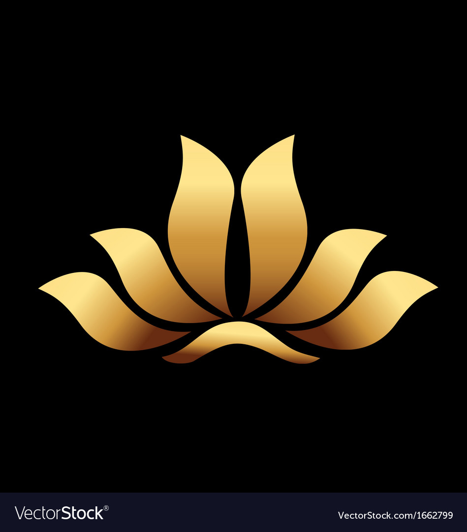 Yoga gold lotus flower vector image