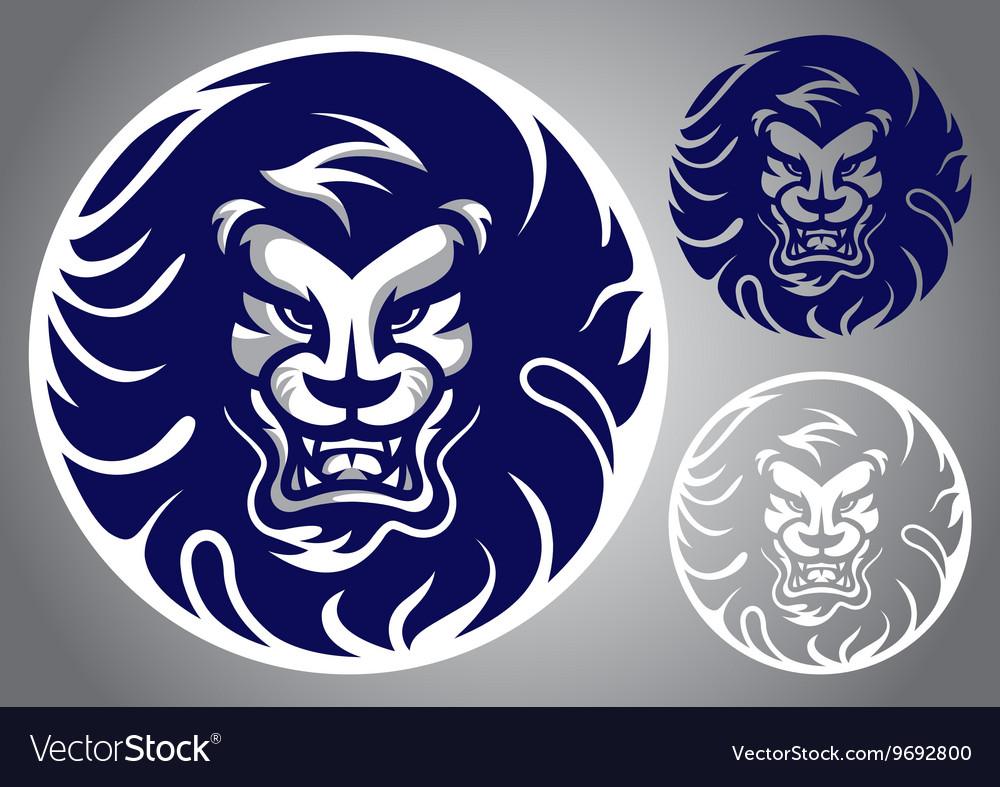Lion head blue logo vector image