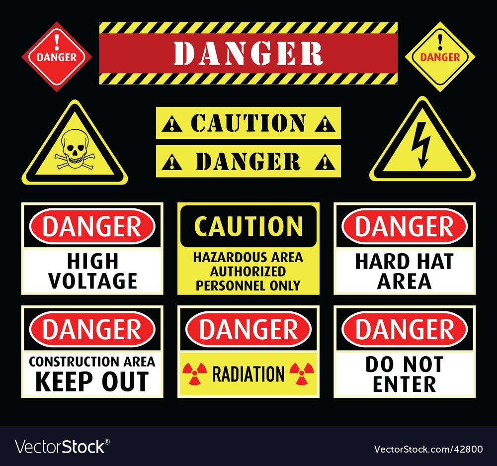 Danger warning symbols vector image