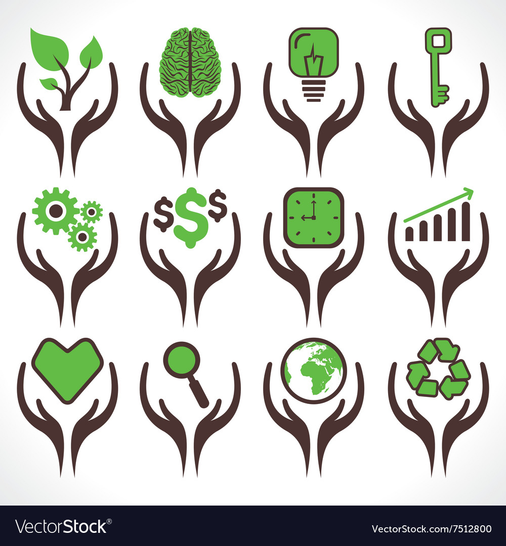Different icon in hand stock vector image