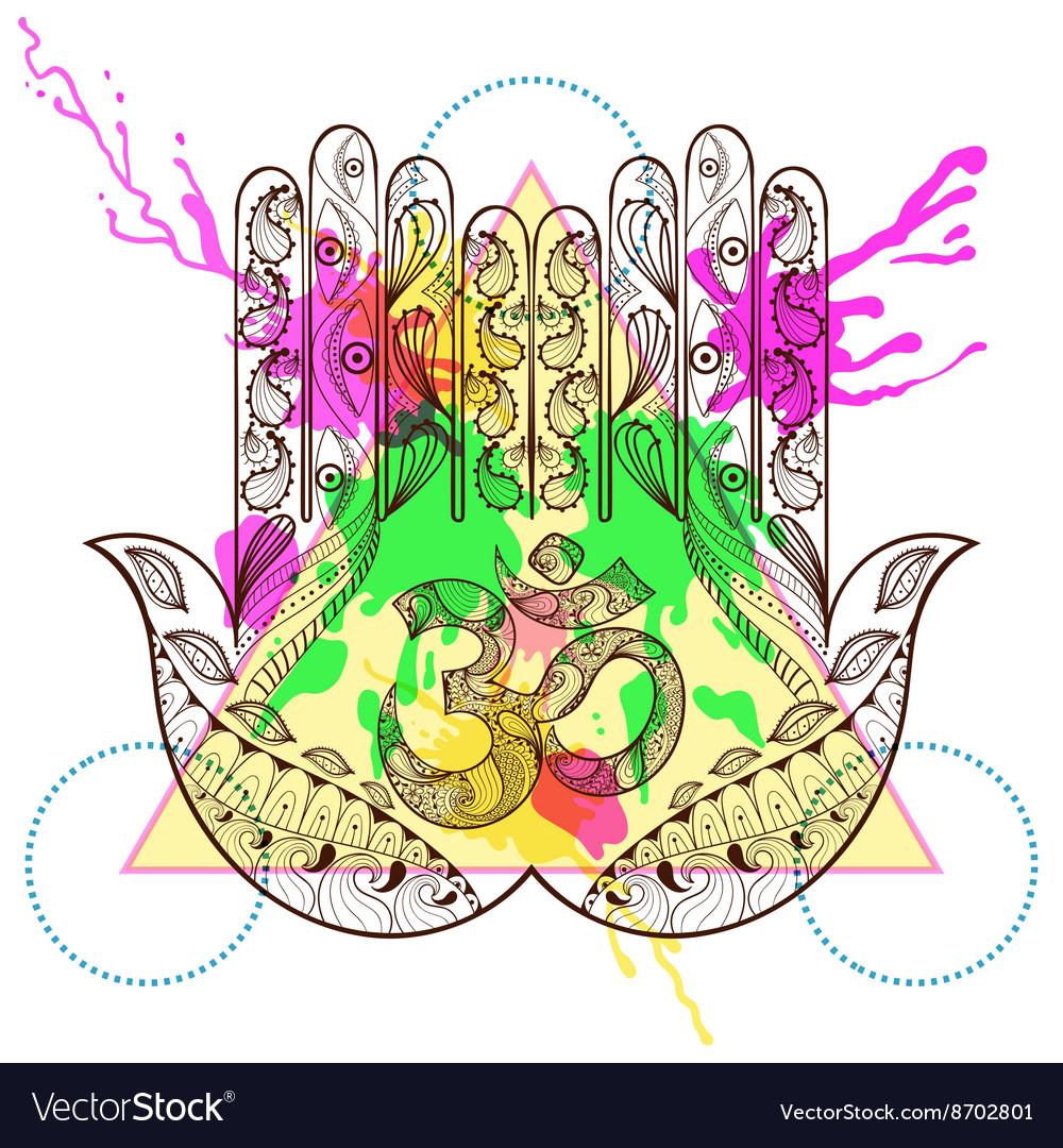 Hand drawn protection hamsa hand with vector image