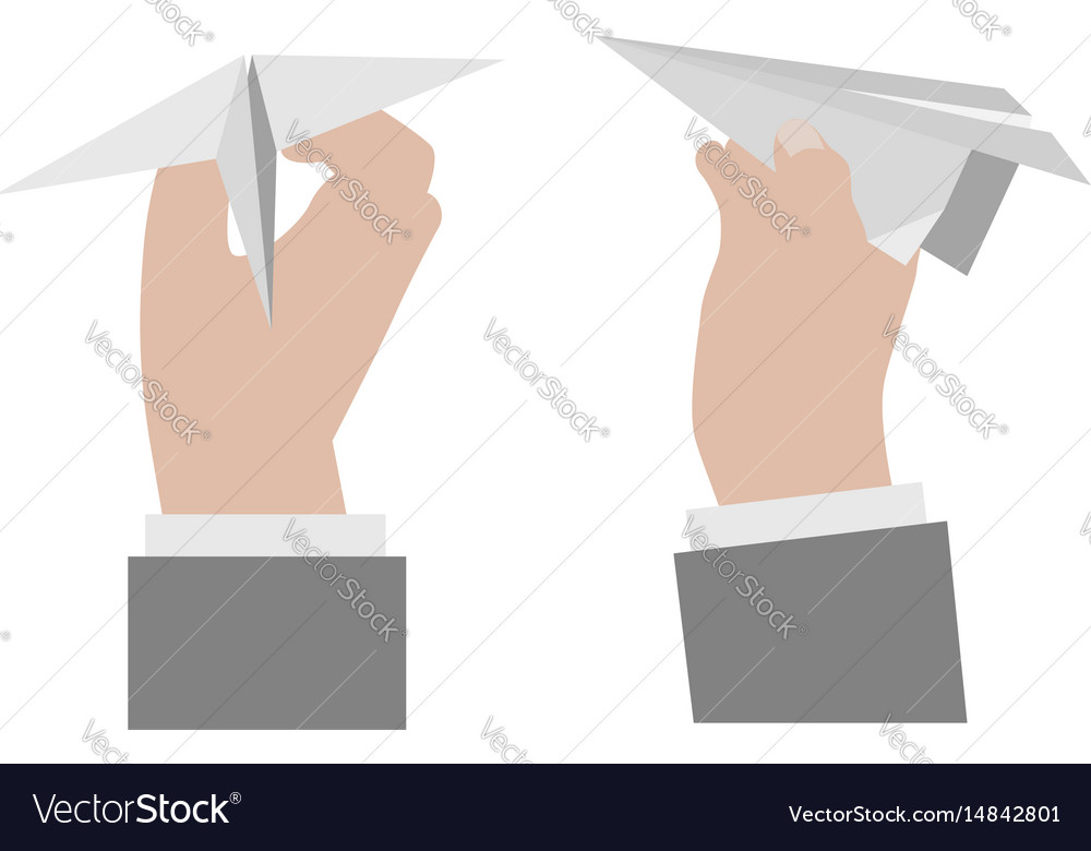 Hand holding a paper airplane vector image