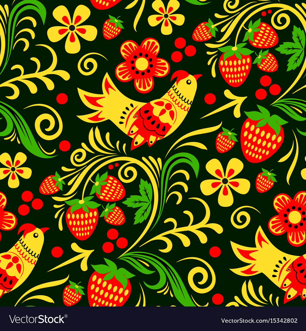 Khokhloma russian painted and lacquered vector image