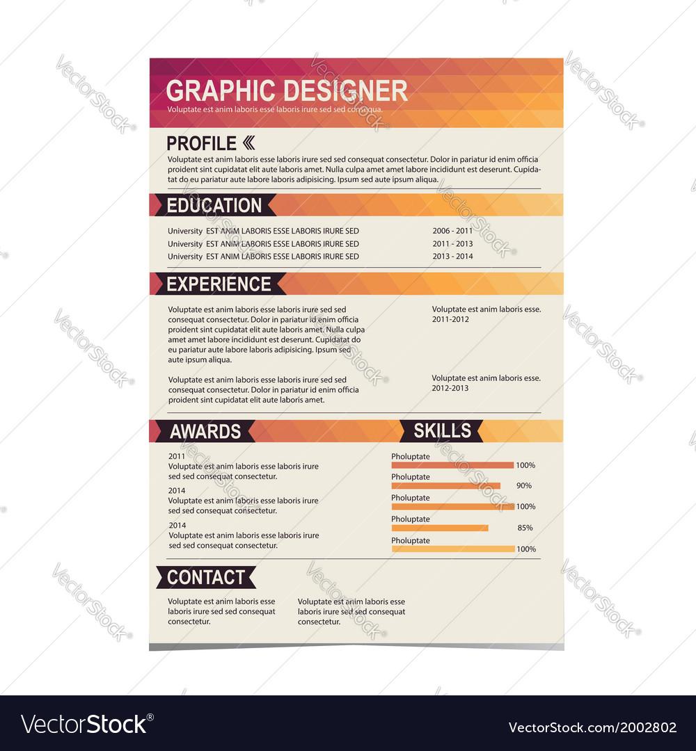 resume template cv creative background vector image - Resume Template Free Vector