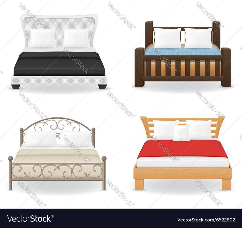 Set bed vector image