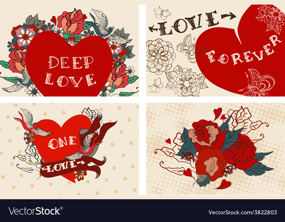 Collection of cards with flowers for Valentine vector image