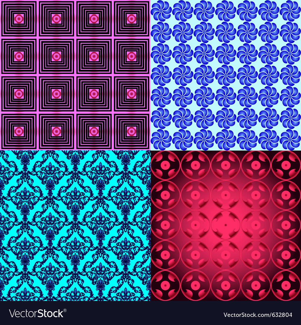 Collection of seamless wallpapers vector image
