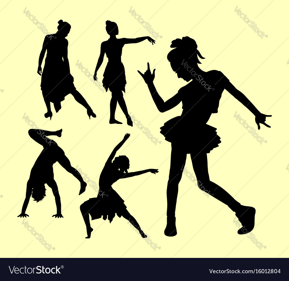 Dancing pose man and women silhouette vector image