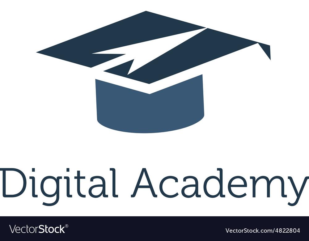 Graduation cap with arrow icon vector image