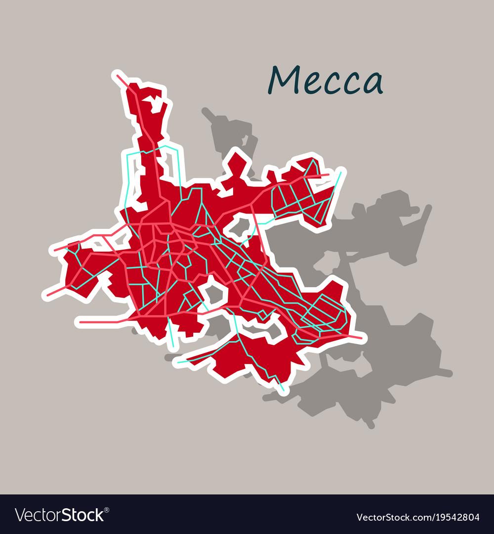 Mecca map saudi arabia sticker Royalty Free Vector Image