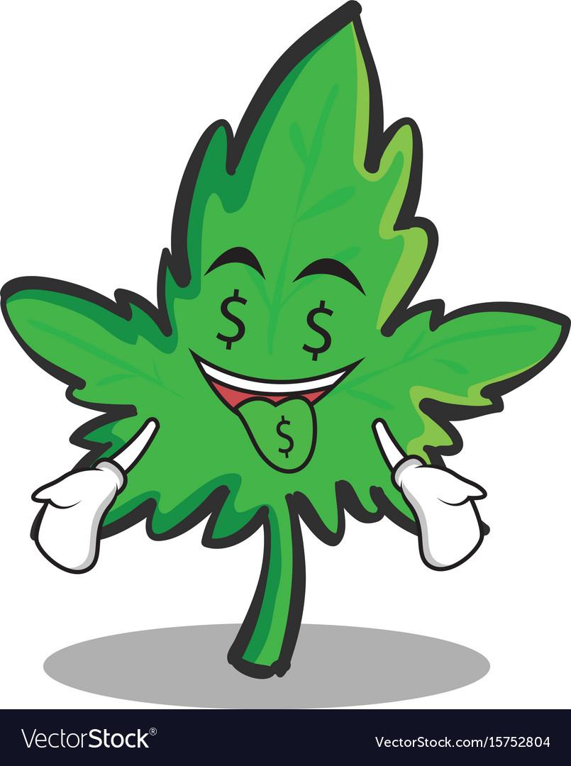 Money mouth face marijuana character cartoon vector image