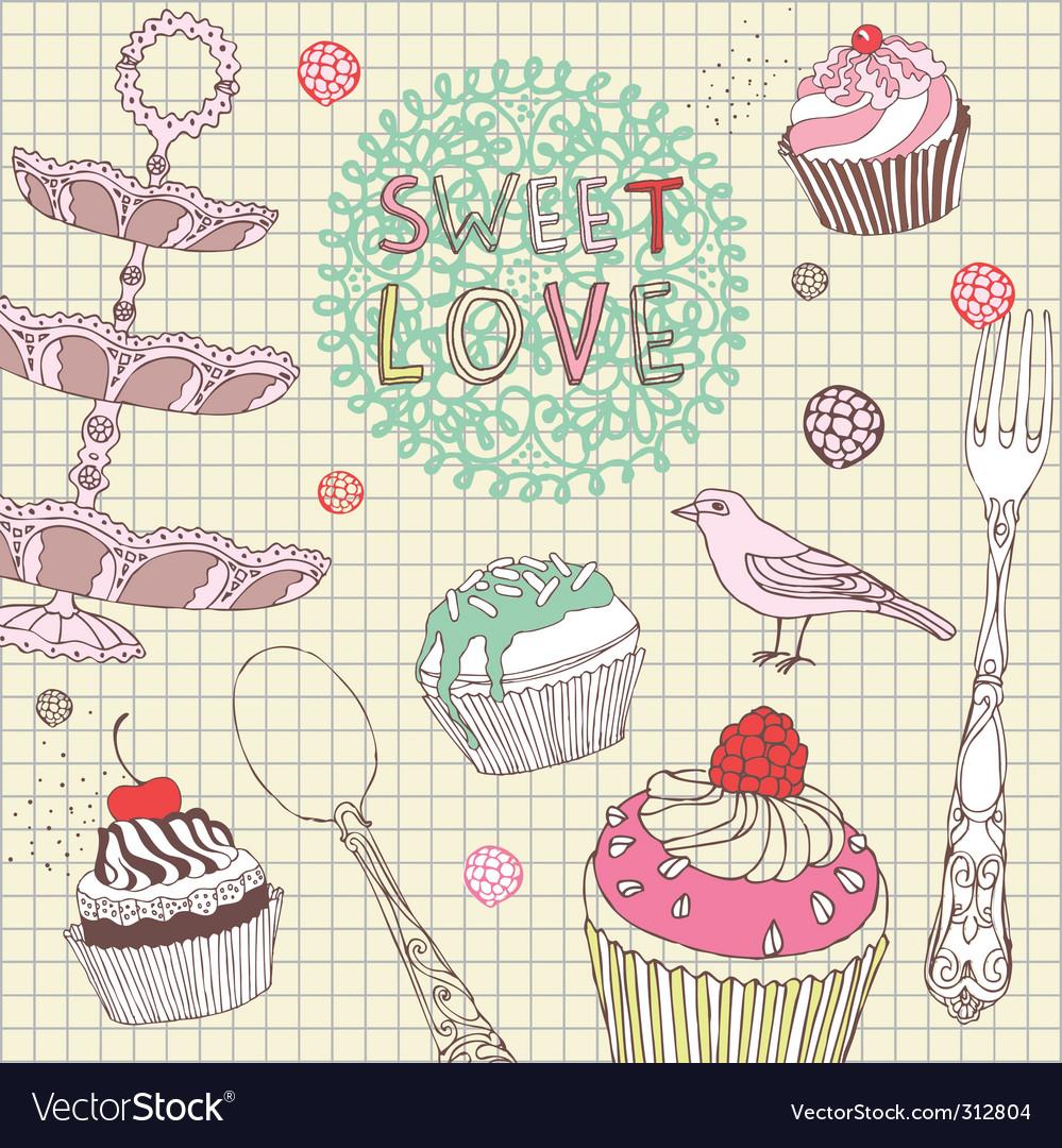 Sweet love card vector image