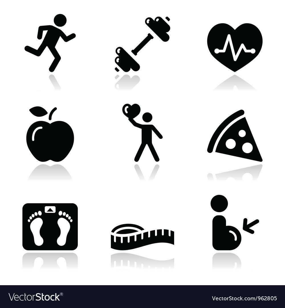 Health and fitness black clean icons set Vector Image