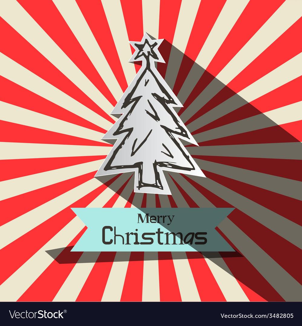 Retro Christmas Card witt Paper Cut Tree vector image