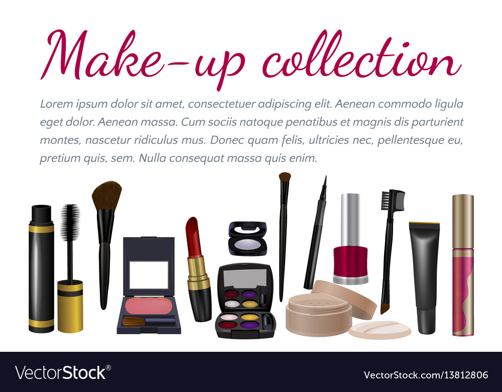 Pearl frame with makeup set vector image