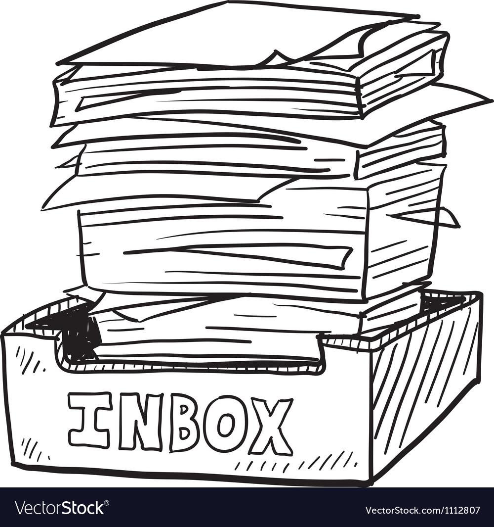 Doodle paper stack inbox vector image