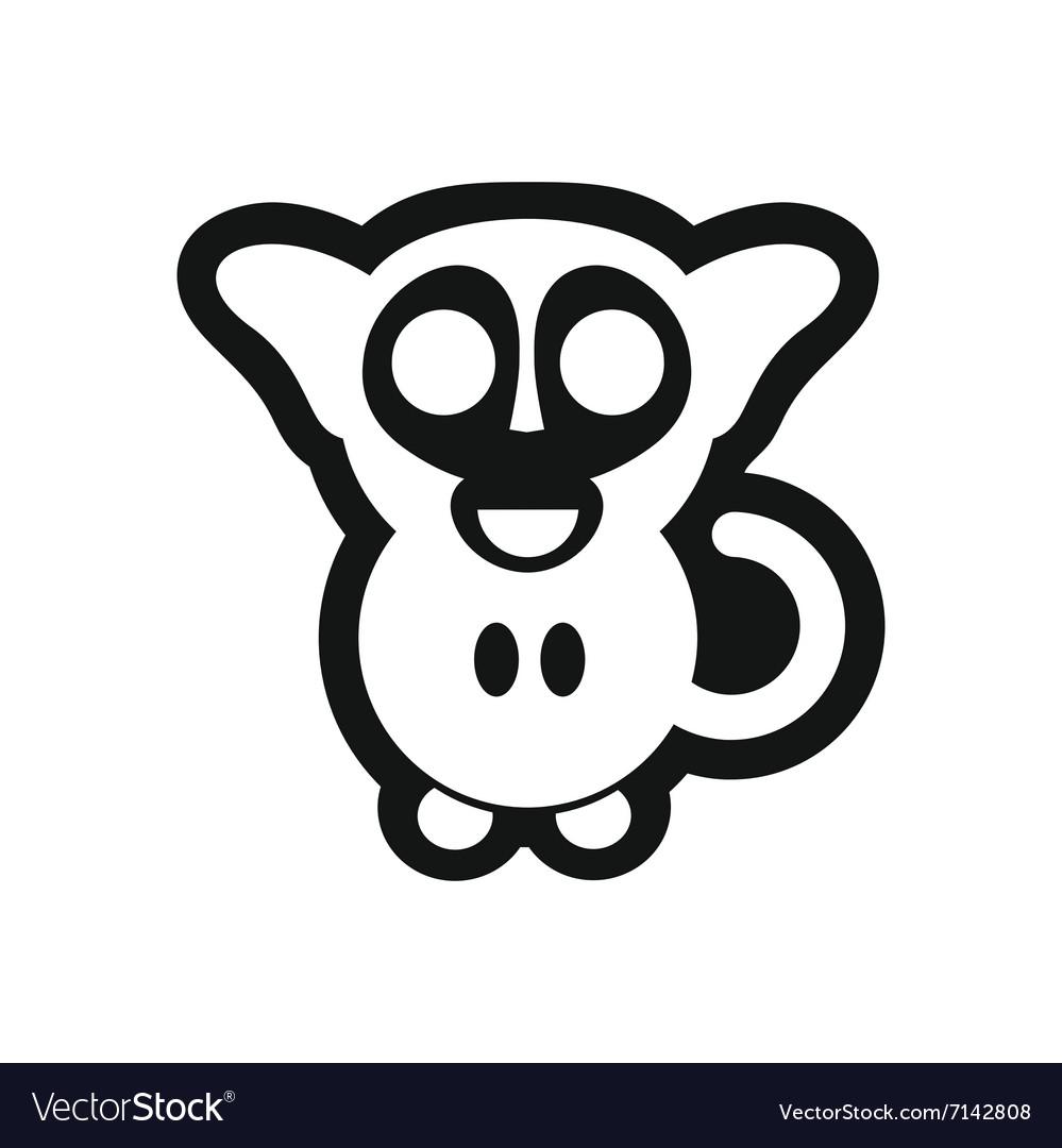 Stylish black and white icon little monkey