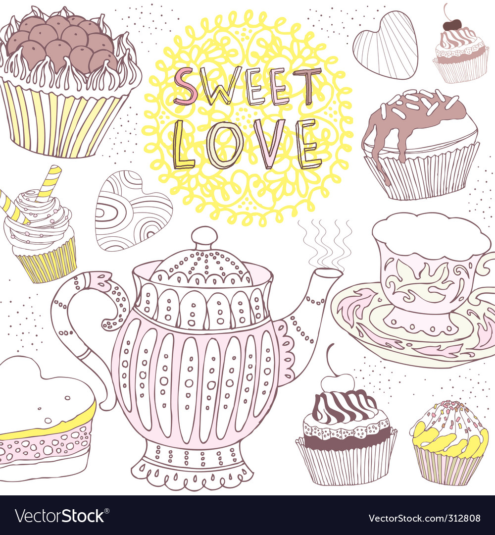 Sweet love card vector image