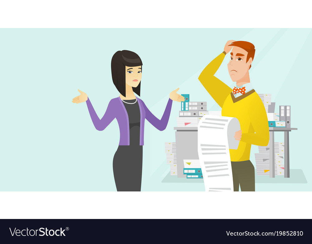 Multicultural business people with long bill vector image
