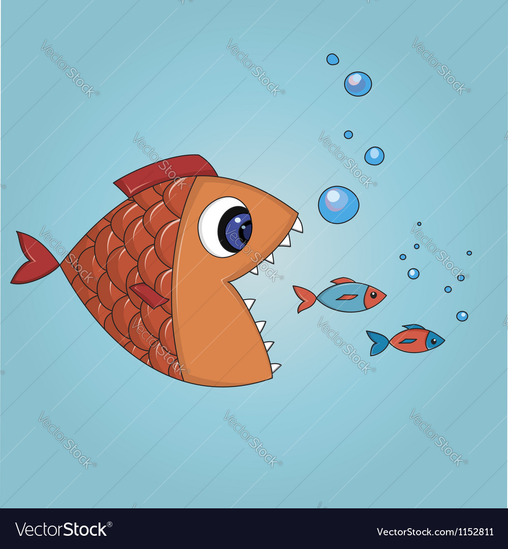 Fish trying to eat two small fishes vector image