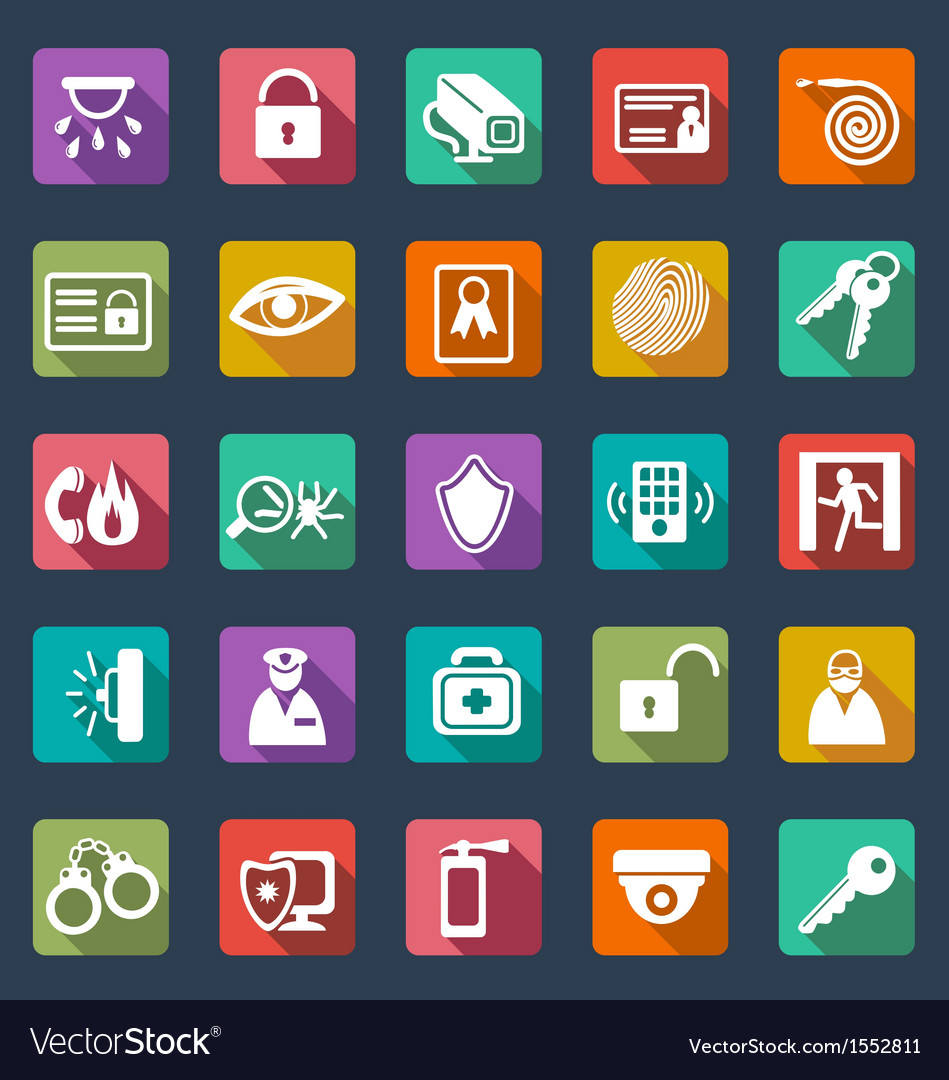Security icons- flat design vector image